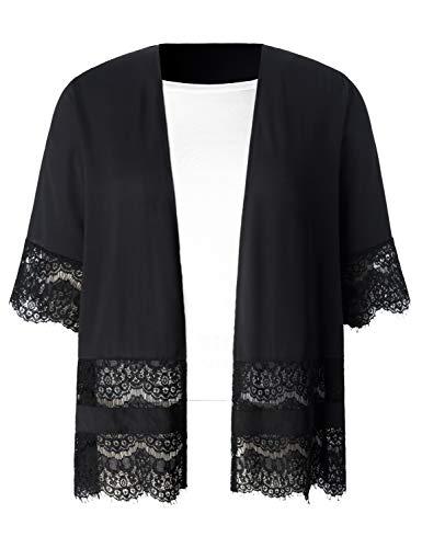 Chicwe Women's Plus Size Lace Trimmed Black Chiffon Shirttail Kimono Cover Up Deep Black 1X