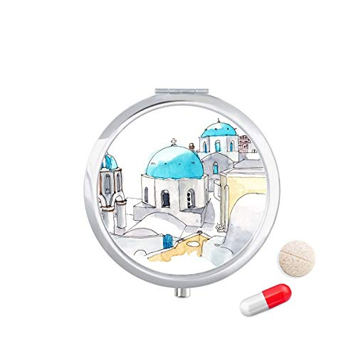 LLgLOOhoOPPPJDh Imerovigli Village in Santorini Greece Travel Pocket Pill case Medicine Drug Storage Box Dispenser Mirror Gift (Best Month To Travel To Santorini Greece)