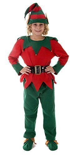 Henbrandt Large Christmas Elf - Child's Dressing Up Outfit (Age 10-12 Years) -