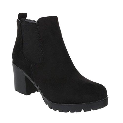 Bequeme Damen Stiefeletten Ankle Boots Plateau Knöchelhohe Stiefel Blockabsatz Kurzschaft H71 Schwarz