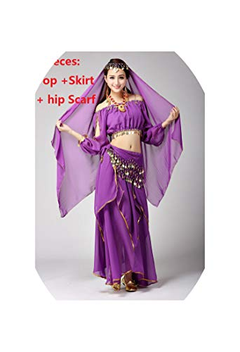 Indian Costume for Bellydance Traje Dresses Gold Belly Dance Skirt Long,Ivory,One Size -