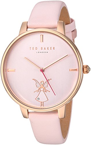 Ted Baker Women's 'KATE' Quartz Stainless Steel and Leather Casual Watch, Color:Pink (Model: TE15162004)