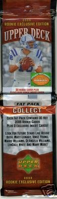 2006 Upper Deck Football Rookie Exclusive Fat Packs (WOW Each Pack Contains 30 Rookie Cards Plus 2 Exclusive Bonus Inserts) - Super Hot Football - Stores Rcs Cards