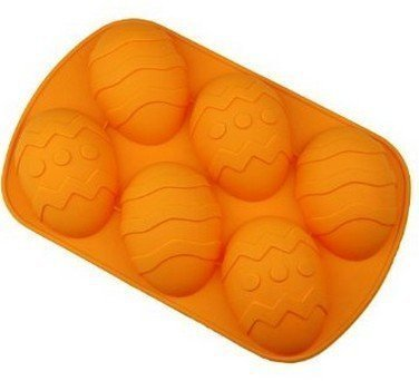 Efivs Arts 6 Easter Egg Silicone Cake Baking Mold Cake Pan Muffin Cups Handmade Soap Moulds Biscuit Chocolate Ice Cube Tray DIY Mold