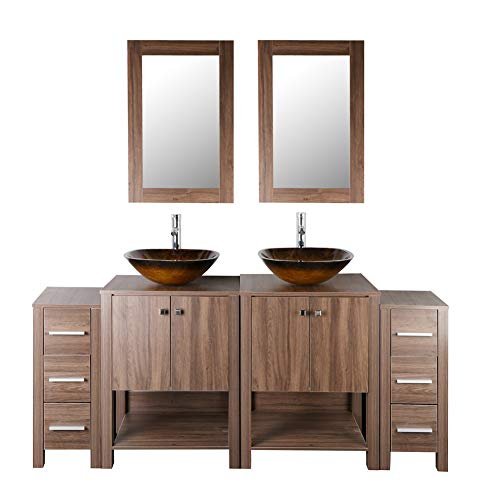 "72"" Double Sink Bathroom Vanity Brown MDF Wood Cabinet Modern Design w/Mirror Faucet and Drain"