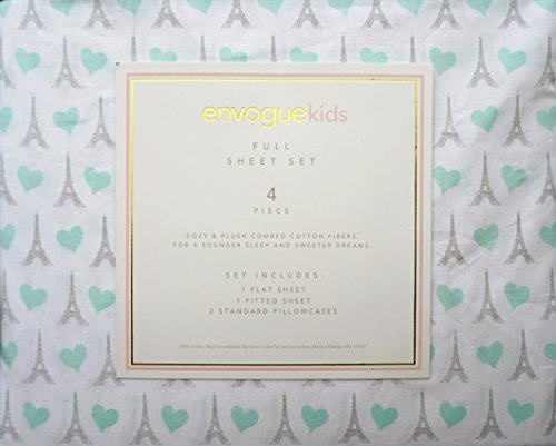 Envogue Kids 4 Piece Full Sheet Set Gray Eiffel Tower Paris France with Light Green Hearts on White