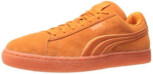 - PUMA Suede Classic Badge ICED Fashion Sneaker, Golden Poppy, 9 M US