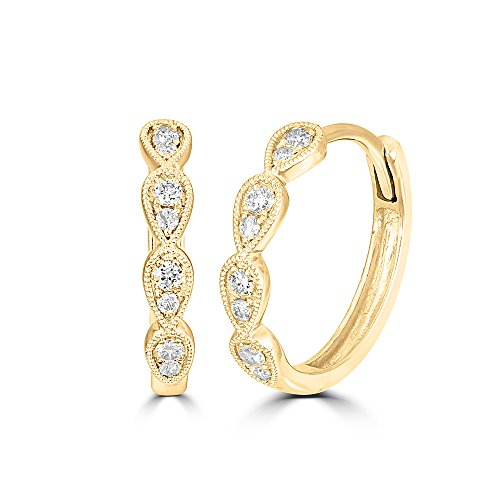 Wickersham Closeouts 14K Yellow Gold 1/5 Ct.tw. Diamond Stackable Hoop Earrings (Color G-H Clarity I2) by Wickersham Closeouts