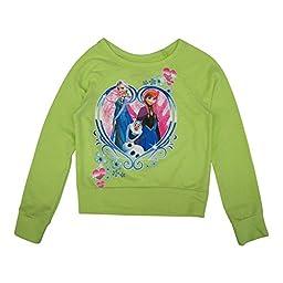 Disney Big Girls Lime Green Frozen Heart Print Long Sleeve Sweater 8