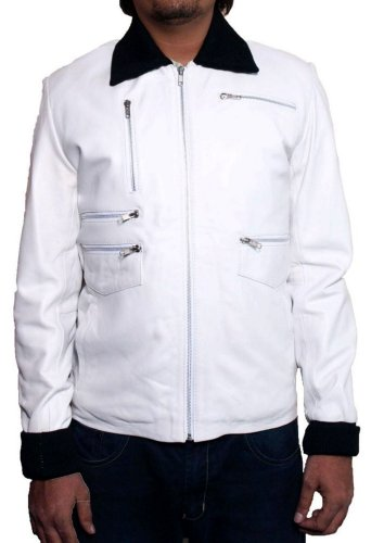 Men's Lewis Sheep White Leather Jacket