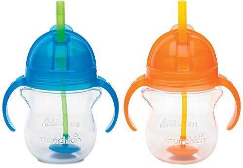 Munchkin Click Lock 7 Ounce Weighted Flexi-Straw Cup, 2 Pack, Blue/Orange (Click Lock Straw)