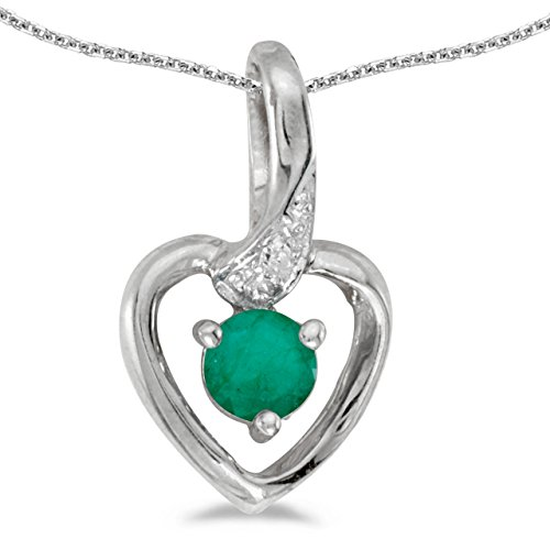 14k White Gold Round Emerald And Diamond Heart Pendant with 18