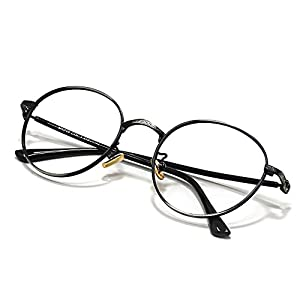 Slocyclub Metal Eyeglasses Frame Clear Lens Glasses Hinges Retro For Men And Women