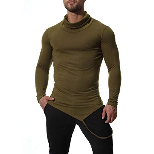 GONKOMA Men's Pullover Tops Clearance High Collar Solid Long Sleeve Tunic Top Blouse Basic T-Shirt Tees