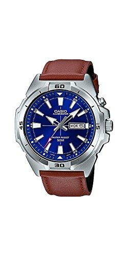 Casio MTP-E203L-2AV Men's Leather Band Illuminator Day Date Black Dial Watch