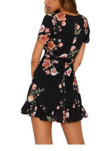Vaniglia Sexy Sleeve Print Top Tunic Mini Neck Casual Deep Women A Dress V Floral flo twrIFrxq