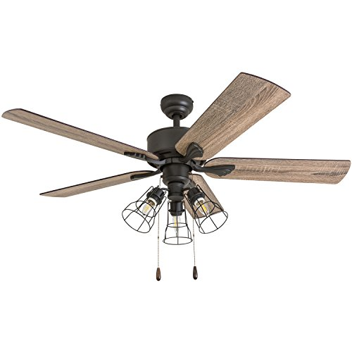 Prominence Home 50684-01 Aspen Pines Farmhouse Ceiling Fan (3 Speed Remote), 52