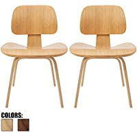 2xhome - Set of Two (2) - Ash - Natural Wood - 18 Seat Height Plywood Dining Side Chair Plywood Lounge Chair for Dining Room Living Room Wood Chairs Accent Chairs