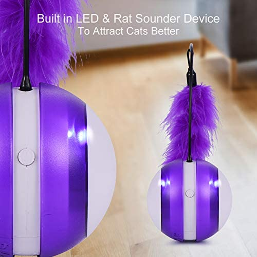 Smart Cat Toys Interactive, Automatic Cat Toy Ball Interactive Cat Toys for Indoor Cats, Best Electronic Feather Cat Toys Ball with Light for Cats, Cats Exercise/Companion Toy Ball by Tiitc 5