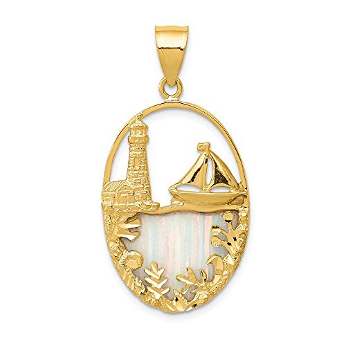 Jewel Tie 14k Yellow Gold Imitation Opal Lighthouse & Sailboat Pendant