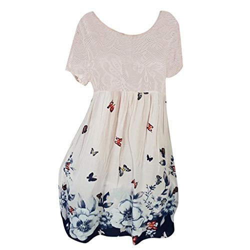Witspace Women Summer Casual Short Sleeve Lace Printed Above Knee Party Dress Sundress