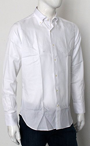 Mastai ferretti Camicia Uomo Slim Fit Bianco Operato Tinta Unita Collo Bottoni Button Down B115 Plutone EY01 0A07
