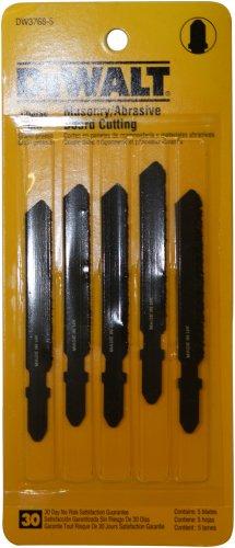 DEWALT DW3768-5 3-Inch Masonry Board Cut Cobalt Steel T-Shank Jig Saw Blade (5-Pack) - Cobalt Steel T-shank Jigsaw Blade