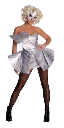 Lady Gaga Sequin Dress,Silver,X-Small Costume