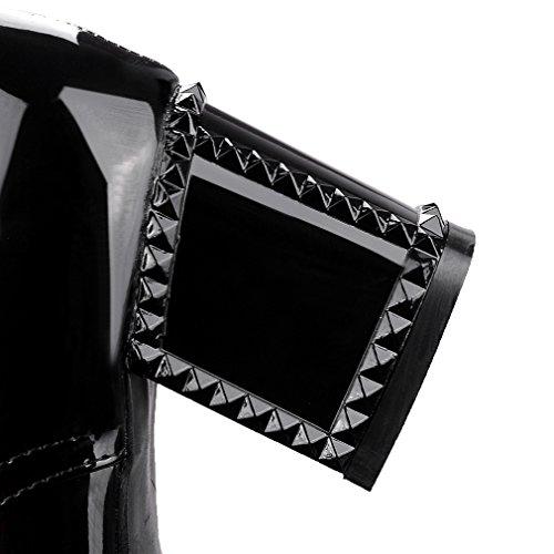 ENMAYER Mujer PU Bloque Mediados de Tacones Encaje hasta Loopers Oficina Oficina Señora Corte Zapatos Oxford Zapatos Botas Ankle Negro#727