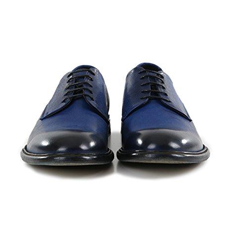 Scarpe 100 Pelle Vintage Bluette Italiane Pelle Mano Derby Fatte di in Artigianali Italy Vacchetta Colore Made a Stringata Calzature Uomo Vera in xg1gwqHS0
