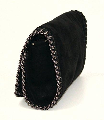 Bolso para mujer tipo clutch con apariencia metálica y brillante cadena, Grau Glitzer Echtleder (gris) - 3110161656 Schwarz Velours