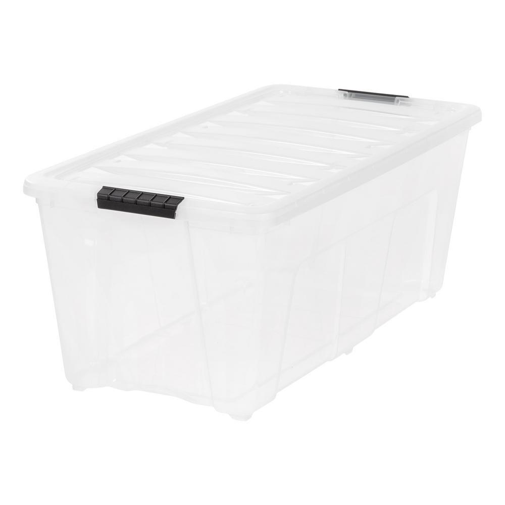 IRIS  Weathertight Storage Box, 83 Quart Stack and Pull - Clear