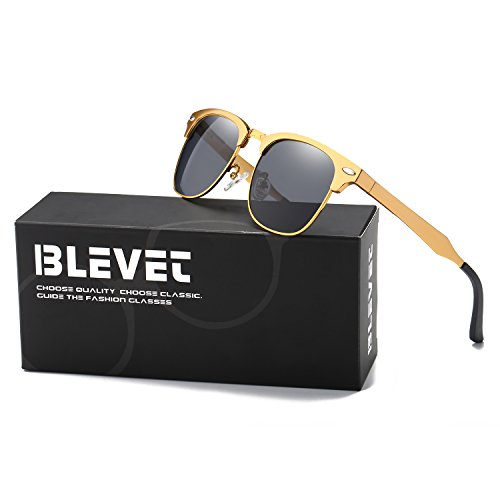 BLEVET Clubmaster Polarized Retro Sun Glasses Classic Metal Al-Mg Semi-rimless All-match Driving Sunglasses Men Women Eyewear(Gold Frame, - Gold Sunglasses