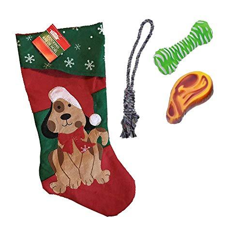 Holiday Puppy Dog Pet Christmas Stocking Set with Squeaky Dog Toy, Vinyl Dog Bone Chew Toy, Rope Dog Toy, Dog Stocking…