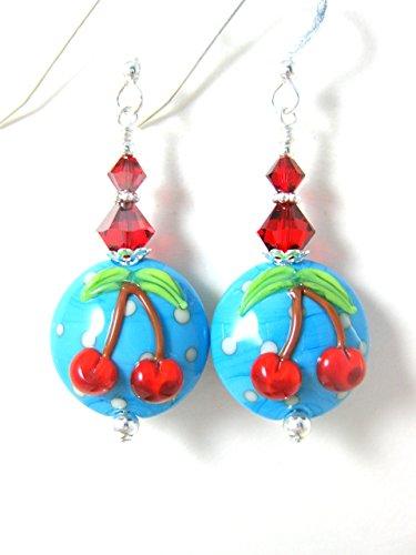 Cherry Earrings Blue Red White Polka Dot Glass Sterling Silver Crystal Dangle