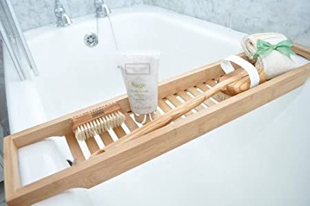 Wooden Bridge Slim Bath Caddy made from Natural Bamboo - Perfect ...