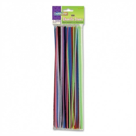 Creativity Street Stetems/Pipe Cleaners 12'' X 4mm 600-Piece Assorted Colors (6 PACKS OF 100)