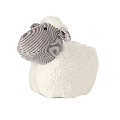 WHW Whole House Worlds Fluffy, The Baby Lamb Door Stopper, Rustic White, Corduroy and Plush, Embroidery Eyes, Polyester, Sand Filling, Weighted Prop, 8 3/4 Inches Tall, 2.3 Pounds