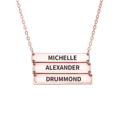 Halloween Costumes 03 Months (Ouslier 925 Sterling Silver Personalized Layered Bar Necklace for Family Custom Made with 3 Names (Rose Gold))