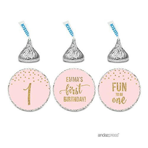 Andaz Press Blush Pink Gold Glitter Girl's 1st Birthday Party Collection, Personalized Chocolate Drop Label Stickers Trio, 216-Pack, Custom Name, Fits Hershey's Kisses Party ()