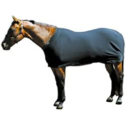 "Sleazy Sleepwear Black Horse Body Sheet with Rear Leg Straps and Fleece Lined Adjustable Neck (Medium 72""-76"")"