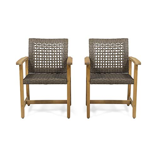 Olivia Outdoor Acacia Wood Dining Chair (Set of 2), Teak Finish and Mixed Mocha