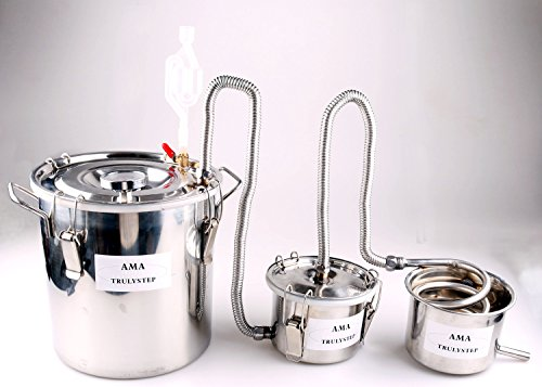 New 3 Pots DIY Home Distiller Alcohol Moonshine Ethanol Still Spirits Boiler Wine Water Essential Oils Making Brewing Kit (Stainless Steel, 12 Litres / 3 Gallon) by WMN_TRULYSTEP