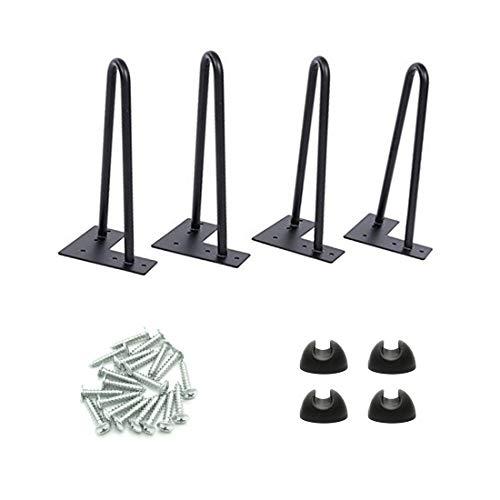 Drenky – Juego de 4 patas de mesa de 12 pulgadas para muebles, de metal, ideal para armarios, armarios de TV, cajones, mesita de noche, con proteccion de suelo y tornillos
