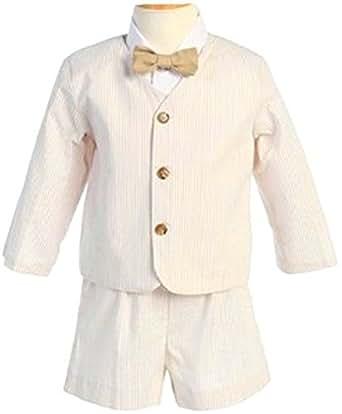 Amazon.com: Lito Boys Khaki Seersucker Eaton Suit (18-24