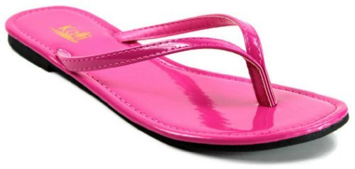 Kali Footwear Women's Twins Basic Patent Flat Thong Sandal, Hot Pink 8
