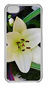 iPhone 5C Case, Personalized Custom White Lily 3 for iPhone 5C PC Clear Case by runtopwell