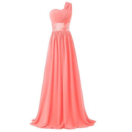Time Dresses Women's Chiffon One Shoulder Bridesmaids Dresses Coral M