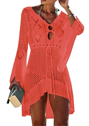 Asskdan Women's Bathing Suit Cover Up Beach Bikini Lace Crochet Hollow Out Swimsuit Cover Ups (Orange, One - Crochet Orange
