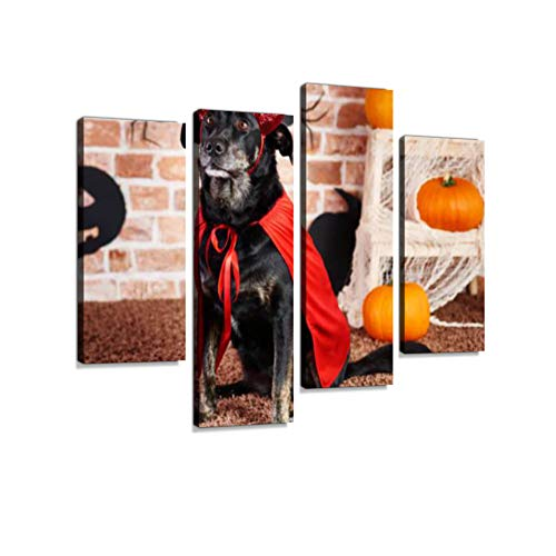 Serious Dog in Devil Costume Canvas Wall Art Hanging Paintings Modern Artwork Abstract Picture Prints Home Decoration Gift Unique Designed Framed 4 -